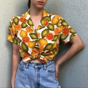 [vintage] citrus print pure silk button blouse